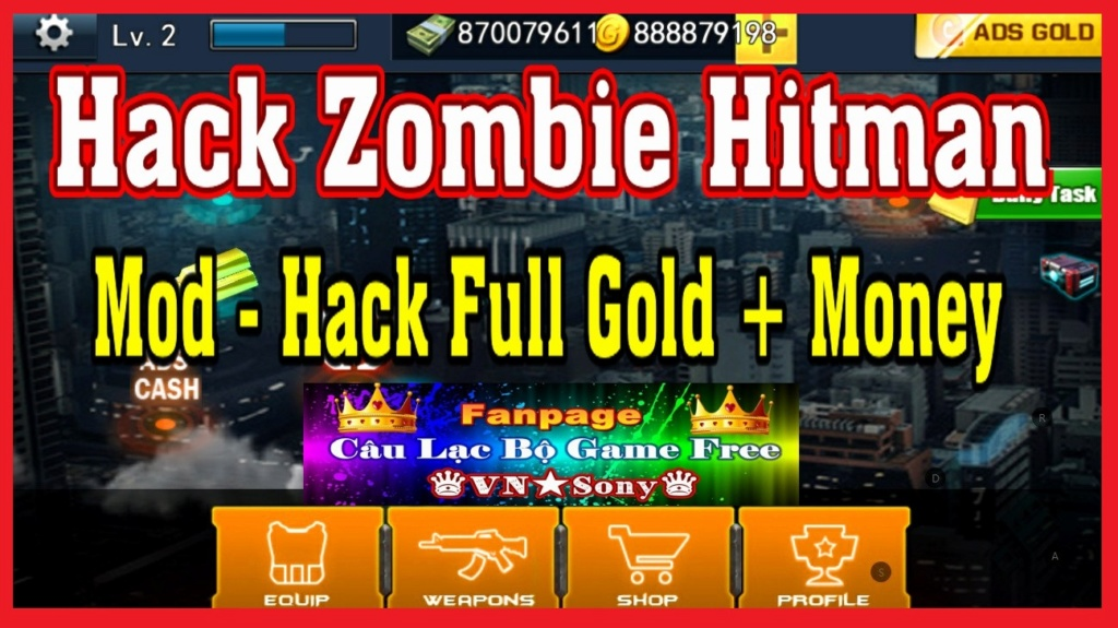 [MobileOffline] Zombie Hitman - Hack Mod Full Money + Gold Rv615