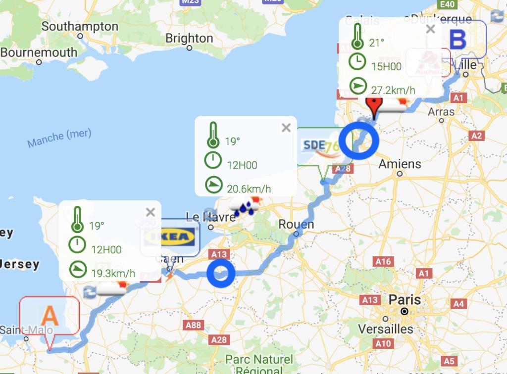 Premier grand trajet : 536km entre la Bretagne et le Nord Captur10