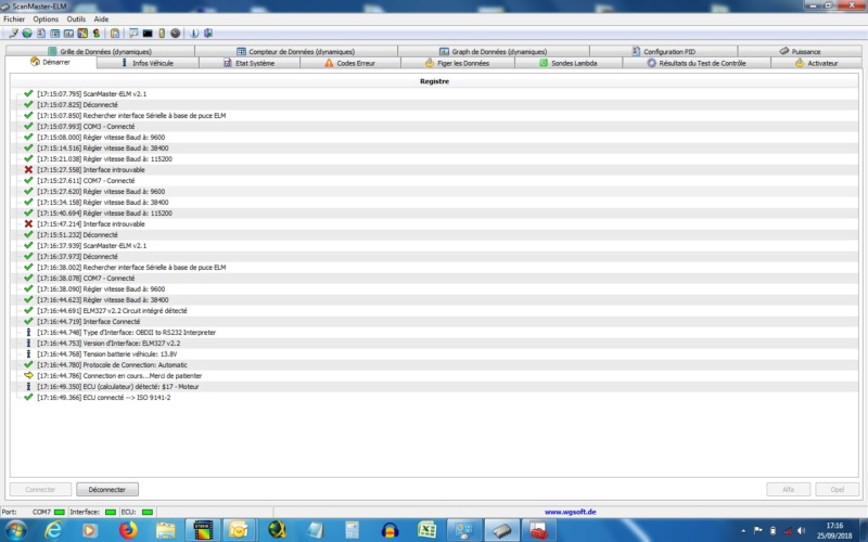 Test du débitmètre et lecture des valeurs par OBD Scanma10