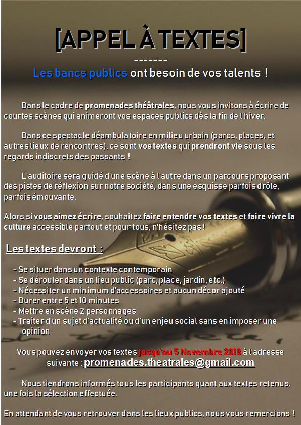 AT - Les Bancs Publics - Promenades Théâtrales - Novembre Affich10