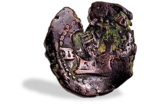 2 maravedís de Felipe II de Burgos, resellados. Resell19