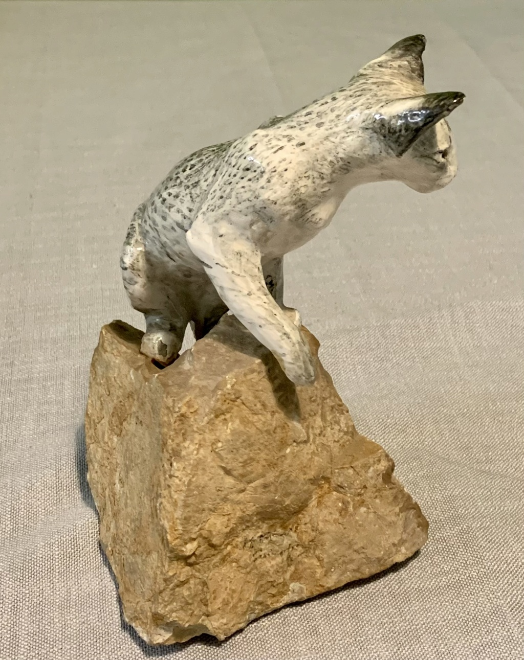 Wild cat mounted on stone by JE Haiselden 1982  Img_8211
