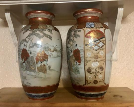 Japenise Kutani Zo Vases late 19th century early 20th   K110