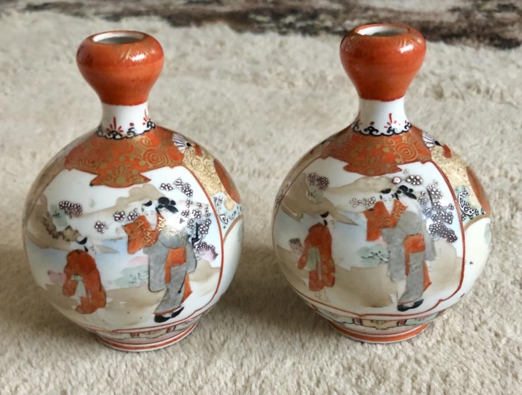 19th century Japanese Kutani vases ( Mark ) V211