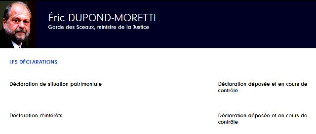 Éric Dupond-Moretti a bien déposé ses déclarations de patrimoine et d'intérêts Captur29