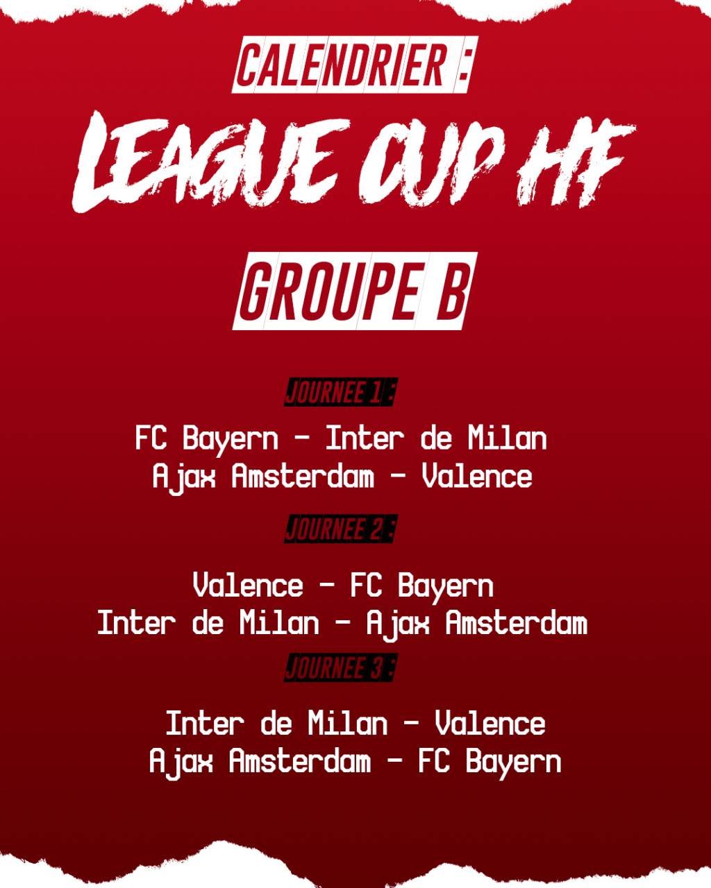 Calendrier League Cup HF : Groupe B Groupe11