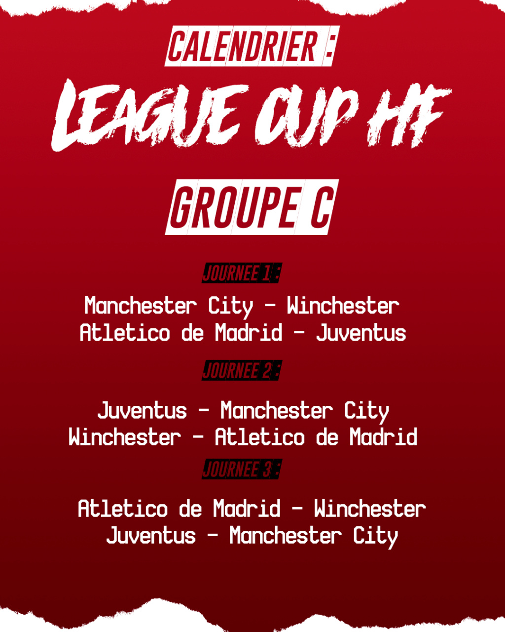 Calendrier League Cup HF : Groupe C Groupe12