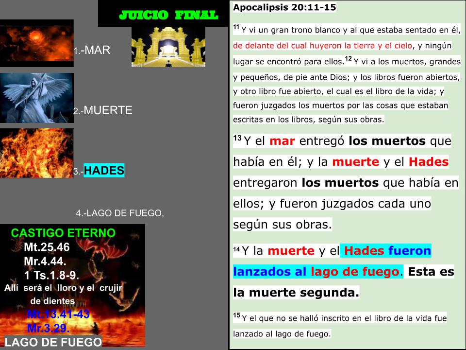 Apocalipsis 20:14 Y la muerte y el Hades fueron lanzados al lago de fuego. Esta es la muerte segunda.¿Que es la muerte y el Hades?...  Juicio10