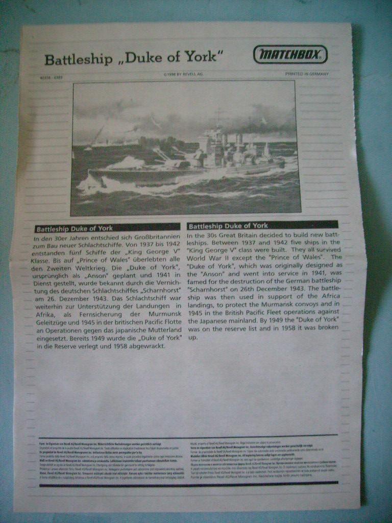 [MATCHBOX] Cuirassé HMS DUKE OF YORK 1/700ème Réf 40356 S7301982