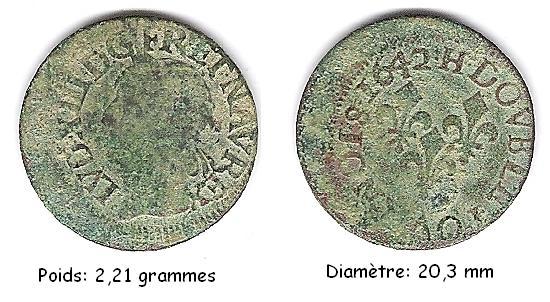 Double tournois de Louis XIII  1642 H Dt_lvd10