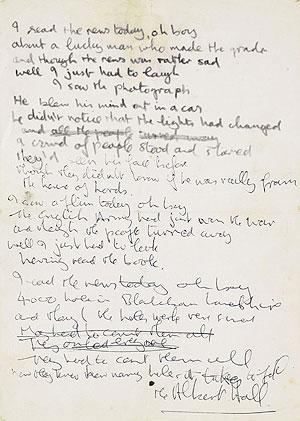 Le manuscrit d'une chanson des Beatles vendu aux enchères Beatle15