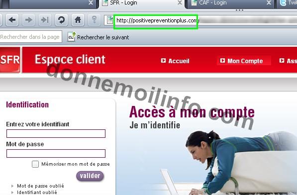 Phishing ciblant la CAF et SFR Sfr10