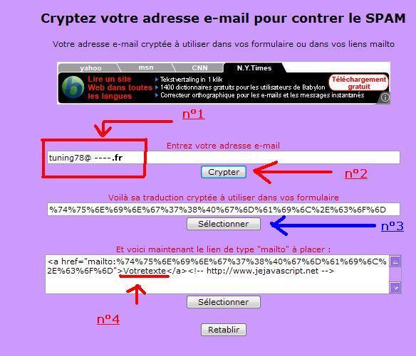 Cryptez votre adresse e-mail pour contrer le SPAM ou les robots Cripta11