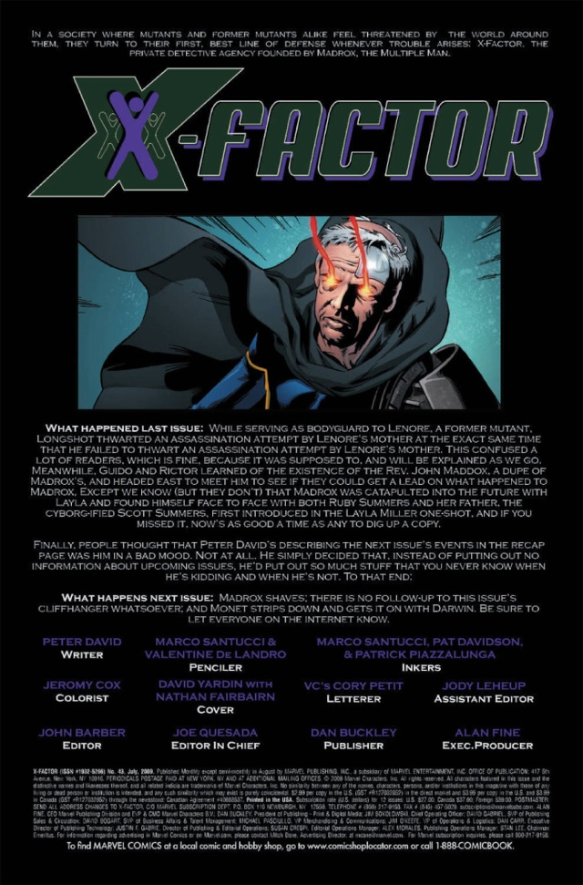 X-Factor # 43 (Previews) --> X-Factor # 192 Prv25710