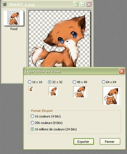 "Outil ""Exportation en icône"" Icanec10"