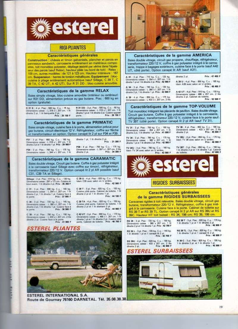 Prix des Esterel rigi-pliantes en 1988 Prix_m12