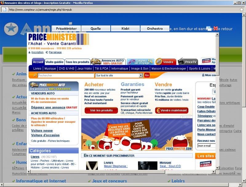 Pop Up PUB sur le site Pop-up10