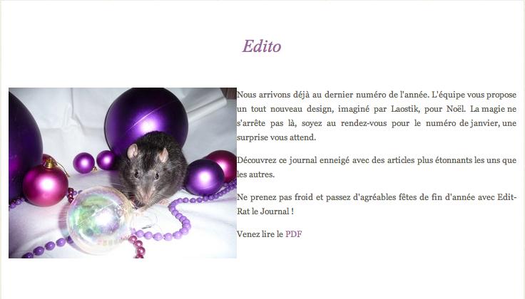 PARTENAIRE EDIT-RAT : Edition de décembre sur le web Captur37