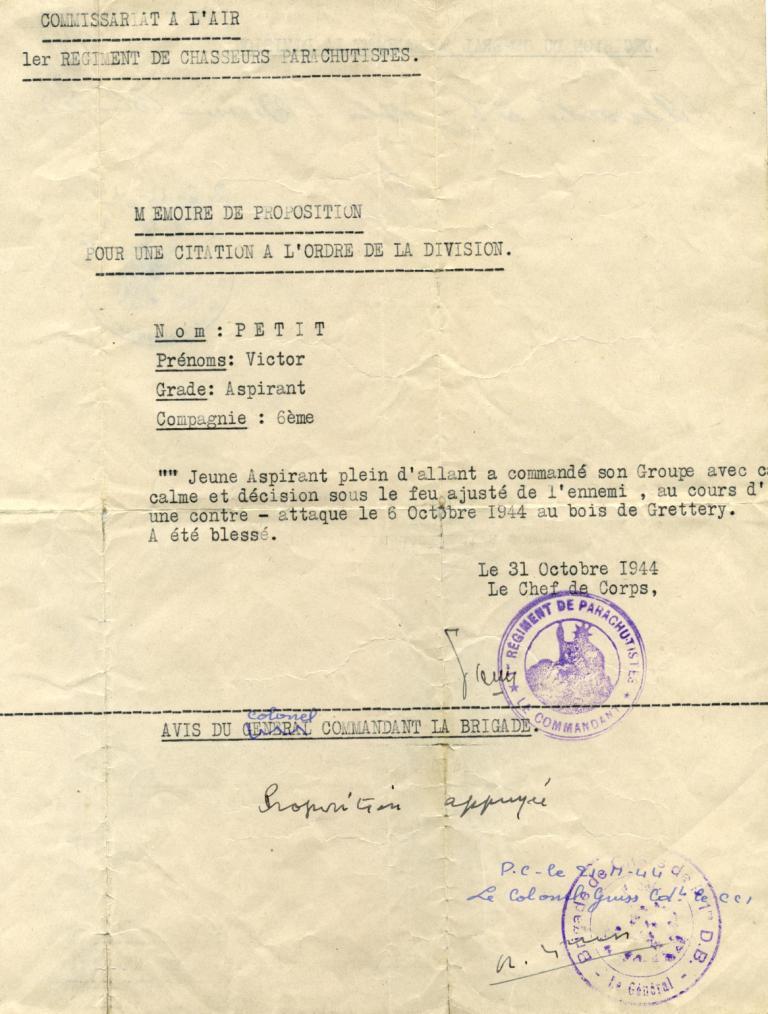 PETIT Victor - brevet n°893 à FEZ (Maroc) Représenté par son fils Denis Citati10