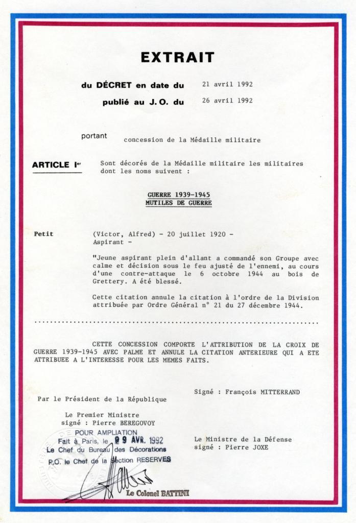 PETIT Victor - brevet n°893 à FEZ (Maroc) Représenté par son fils Denis Citati11