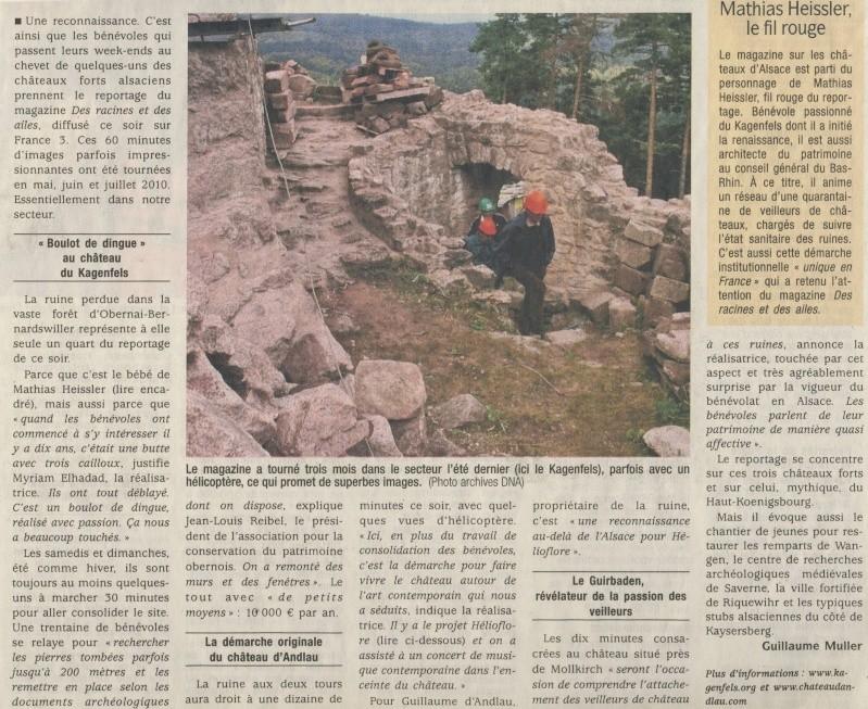 """Mercredi  9 mars 2011 à 20h35 sur France3 le magazine """"Des racines et des ailes"""" fait une brève escale à Wangen Image171"""