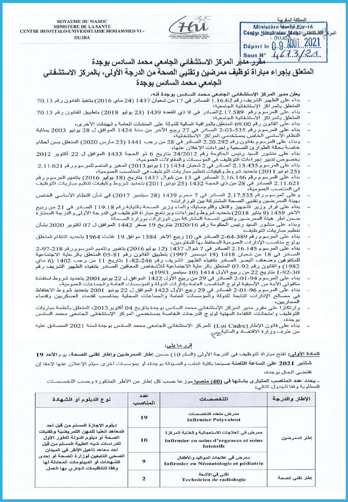 المراكز الاستشفائية الجامعية بالمغرب مباريات توظيف 652 منصب في عدة تخصصات  Chu_m610