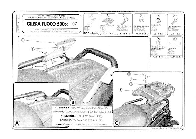 Platine et kit de fixation pour Top case MONOKEY sur le FUOCO 20090610