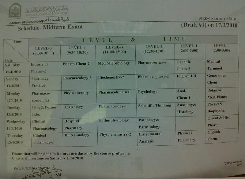Midterm Exams Schedule 20100333
