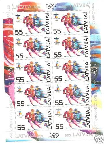 Timbre Lettonie - Jeux Olympiques Vancouver 2010 Letton10