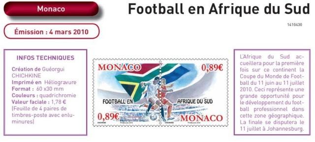 Timbres Monaco - Coupe du Monde de Football FIFA Afrique du Sud 2010 Monaco10