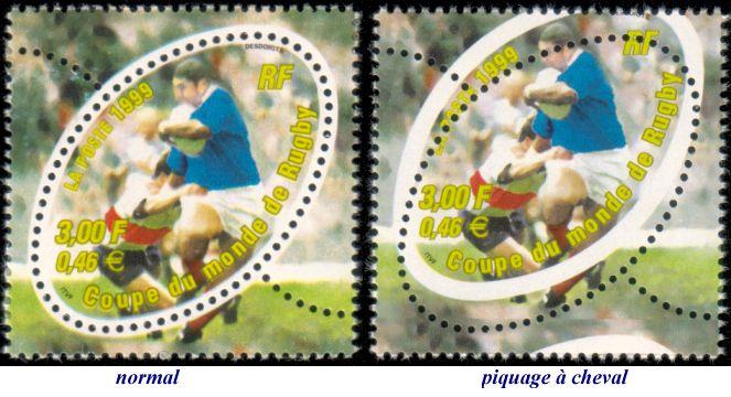 """Retour sur le bloc philatélique """"Coupe du Monde de Rugby 1999"""" - Premier timbre ovale ! Timbre10"""