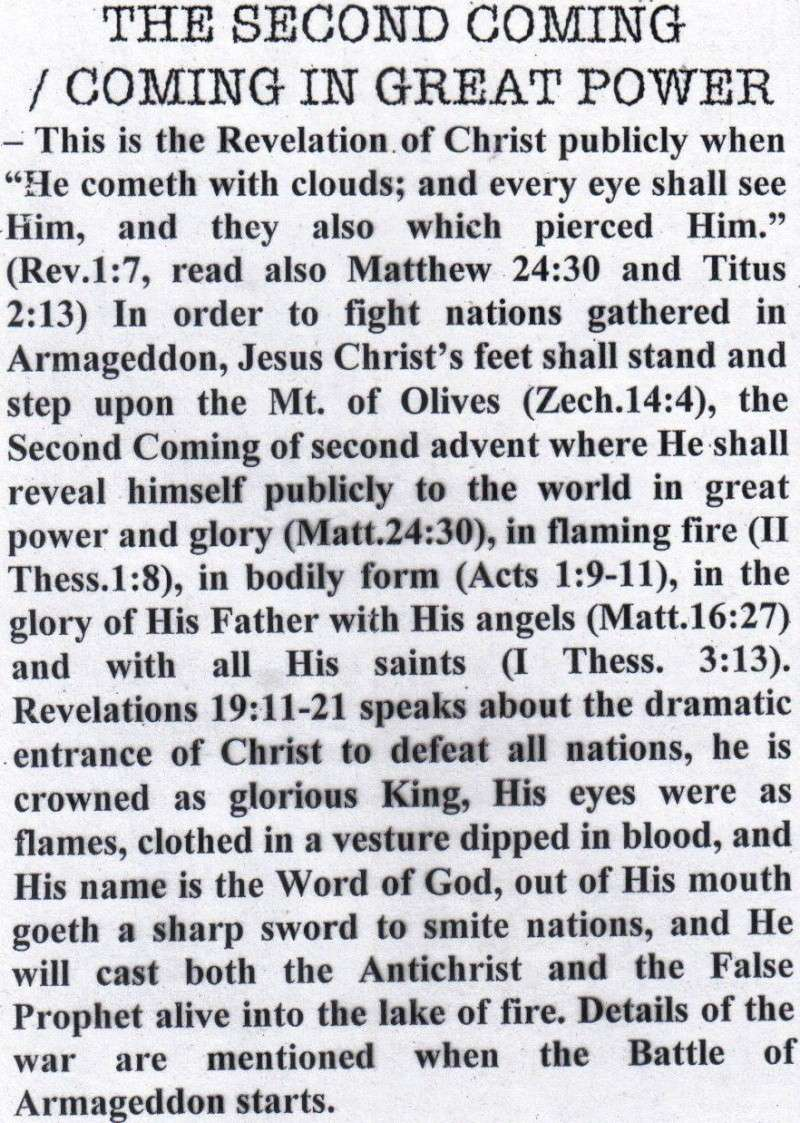 TOPIC I : FUTURE EVENTS / RAPTURE, REBUILDING OF THE 3RD TEMPLE, JUDGMENT SEAT OF CHRIST, MARRIAGE SUPPER OF THE LAMB, TRIBULATION PERIOD, RUSSIAN INVASION, BATTLE OF ARMAGGEDDON, SECOND COMING IN GREAT POWER, SATAN IN BOTTOMLESS PIT, ETC.... St1010