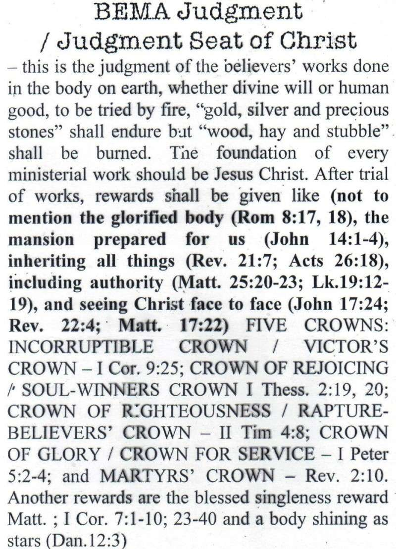 TOPIC I : FUTURE EVENTS / RAPTURE, REBUILDING OF THE 3RD TEMPLE, JUDGMENT SEAT OF CHRIST, MARRIAGE SUPPER OF THE LAMB, TRIBULATION PERIOD, RUSSIAN INVASION, BATTLE OF ARMAGGEDDON, SECOND COMING IN GREAT POWER, SATAN IN BOTTOMLESS PIT, ETC.... St710