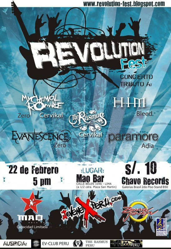 Revolution Fest: Tributo a My Chemical Romance y Paramore Revoco10