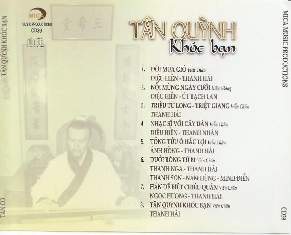 Tần Quỳnh Khóc Bạn - CD Vọng Cổ Tanquy10