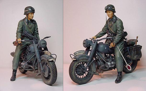 Moto allemande et uniformes normandie Feldge10