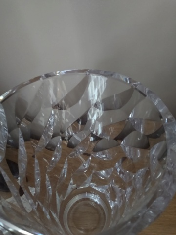 Large heavy modernist cut glass vase Img_2050