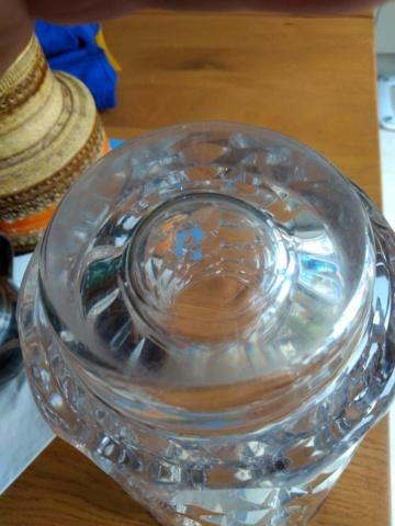 Large heavy modernist cut glass vase Img_2051