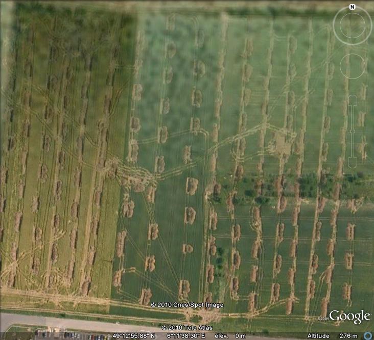 Les sondages archéologiques vus avec Google Earth Trou10