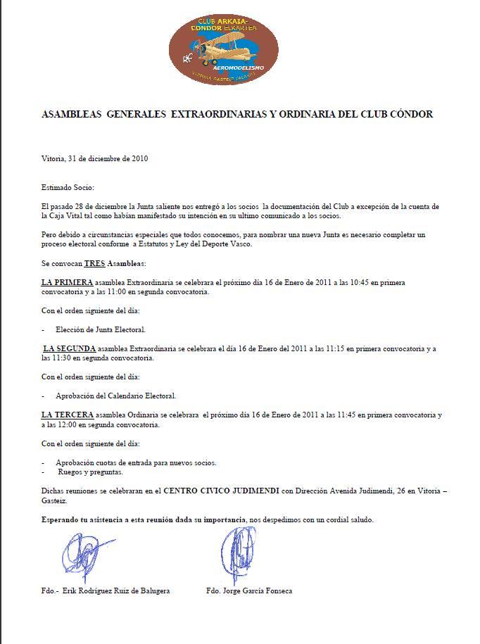 NUEVAS CONVOCATORIA EXTRAORDINARIAS Y ORDINARIA CLUB ARKAIA-CONDOR 16 ENERO 2011 Asambl10