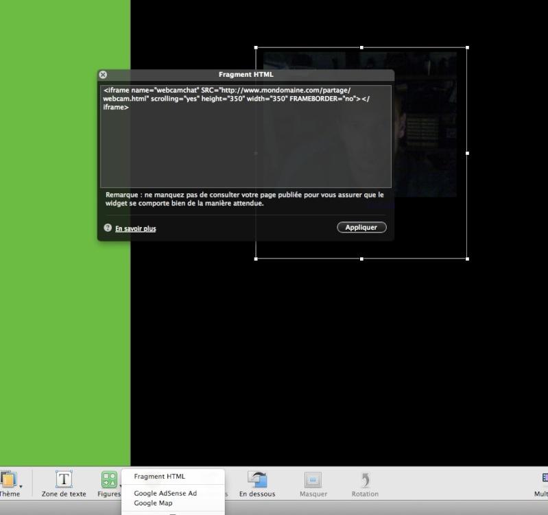 Diffuser une webcam dans iWeb - evocam Captur13