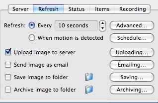 Diffuser une webcam dans iWeb - evocam Captur15