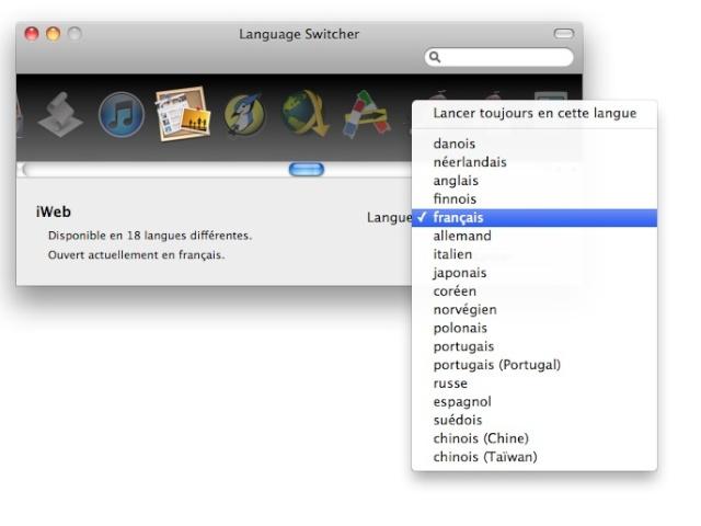 Changez la langue de iWeb.app Captur89