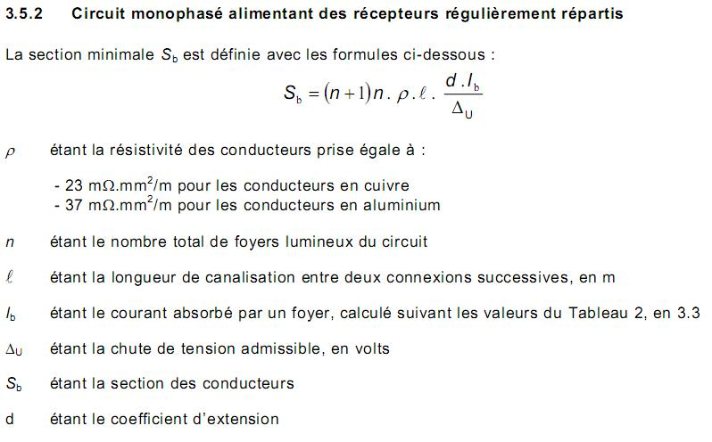 Eclairage Public - Calcul chute tension 111