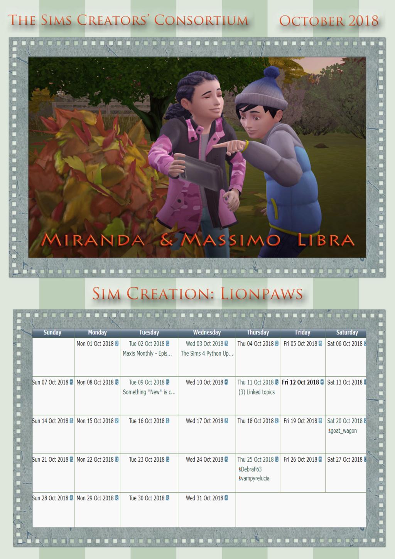 2018 TSCC Calendar: December 2018 Octobe10