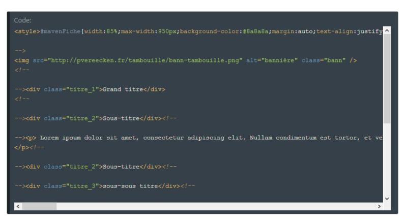 "[Toutes versions] Personnaliser les balises ""codes"" Awesom13"