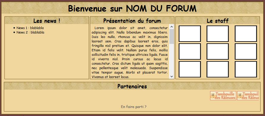 En-tête 4 blocs : news, présentation forum, staff et partenaires Pa_4_b10