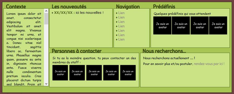 En-tête 6 blocs : Contexte, news, navigation, prédéfinis, staff, recrutement Pa_6_b10