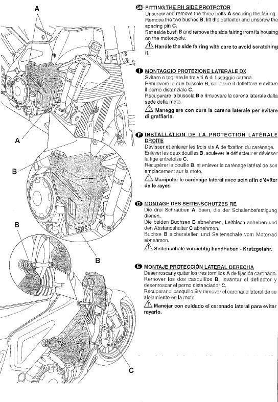 Istruzioni montaggio tamponi paracarena Tuono new 110