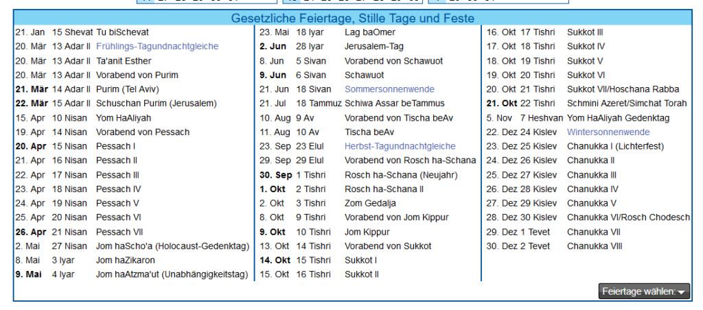 Kalender für Israelitische Feste Kalend10